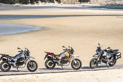 Moto Guzzi V85 TT on a beach