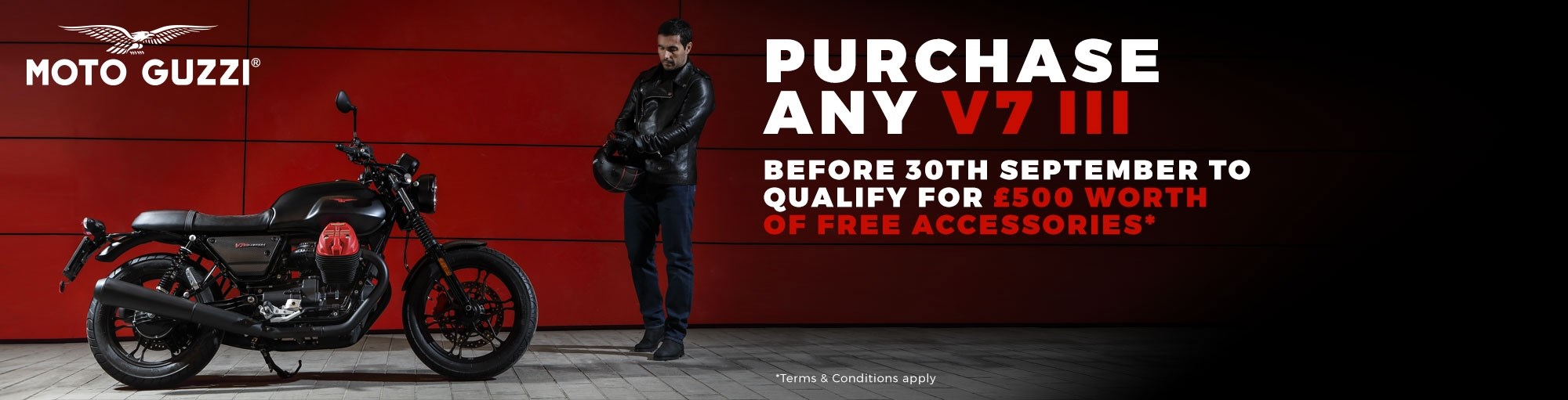 Buy a new Moto Guzzi V7 III & get £500 worth of free accessories