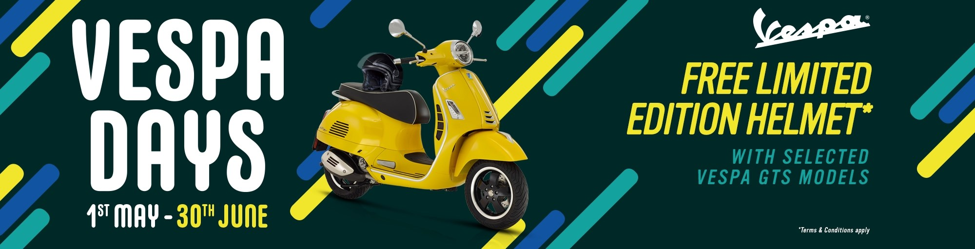 Get a free limited-edition helmet when you buy a Vespa GTS until June 30th